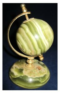 """GREEN ONYX 3"""" GLOBE ON A BRASS STAND ORNAMENT"""
