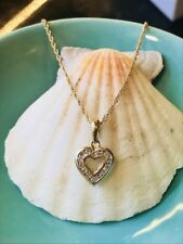 """14k Yellow Gold Natural Diamond Heart Pendant Necklace W/ 16"""" Chain"""