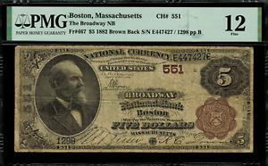1882 $5 National Boston, Massachusetts Brown Back FR.467 Charter 551 - PMG 12