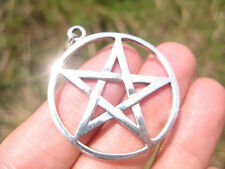 Extra Large 925 sterling silver wicca inverted pentagram pendant necklace A2