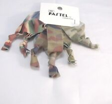 Camouflage Camo Stretchy ribbon knotted Ponytail holders 6 pc soft Ouchless