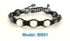 Adjustable magnetic hematite balls and round white color beads bracelet