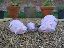 FAMILY OF 3 PIGS GARDEN ORNAMENTS - HEAVY STONE - UK MADE - FREE P&P