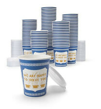 """New York Original """"WE ARE HAPPY TO SERVE YOU"""" Greek Anthora Coffee Cups + lids"""