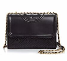 Authentic Tory Burch Fleming Convertible Leather Shoulder Bag Black & Gold, New