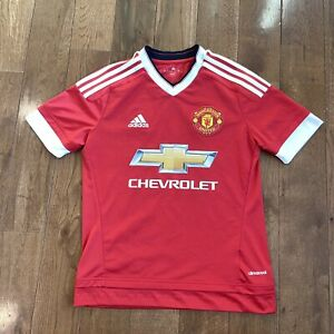 Youth Adidas Manchester United Soccer Jersey Chevrolet Red Home Shirt Sz L 13-14