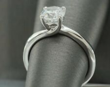 1Ct Diamond Solitaire Engagement Rings 18K White Gold Promise Wedding Rings Jewe