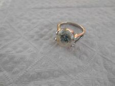 Silver Plated / Abalone Shell  Round  Ring  Size  8.75
