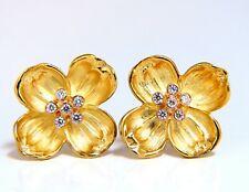 .40ct Natural Diamond Floral Clover Petals Clip Earrings 14 Karat