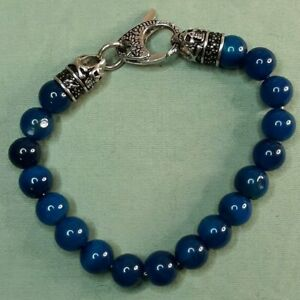 Blackjack Men's Bracelet Blue Gemstone Bead Black Cubic Zirconia Bracelet