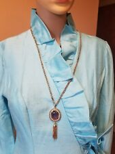 Avon Gold tone chain with purple stone pendant with fax pearl around and gold da