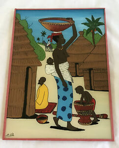 Vintage West African Reverse Glass Painting Senegal ~ Attributed to Babacar Lo