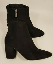 Topshop size 6 (39) black faux suede side zip block heel ankle boots