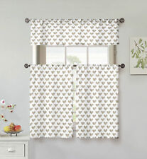 "Taupe/White 3 Pc Small Curtain Set: Hearts, Valance, 2 Tiers 36""L, 100% Cotton"