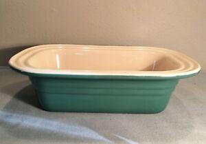 Le Creuset Stoneware Deep Bread Loaf Pan Baking Dish Dark Green 7 x 10 1/2