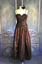 Vintage 80s Bronze Taffeta Full Length Prom Dress XS Lace Sequin Top Full SKirt