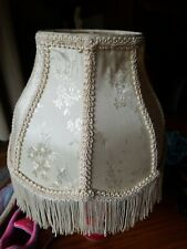 "Home Trends Shabby Chic/Victorian Floral Fabric Bell Lampshade~2"" Fringe~New"