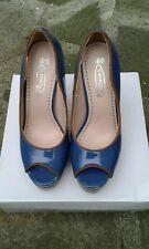 LADIES SPOT ON STILETTO HEELS  PEEP TOE COURT SHOES BLUE/TAN SIZE 37/4 BN&BOXED