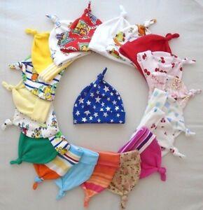 Newborn Cotton Baby Hat or Premature Tiny Girls Boys Hat Summer Pink Blue