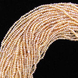 NATURAL 3-4MM PINK FRESHWATER PEARL RONDELLE NUGGET LOOSE BEADS 15INCH STRAND