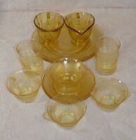 Collection of Vintage Yellow Depression Glass Teacups, Saucers, Plates 12 Pcs