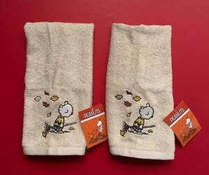 Lot 2 Peanuts Charlie Brown Harvest Autumn Fall Leaves Hand Towel 16 x 26  NEW