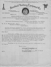 Original 1908 Standard Railway Equipment Co. Letter to Atlantic & Western RR Co.
