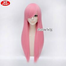 70CM Anime Party Light Pink Long Heat Resistant Basic Straight Cosplay Wig+Cap