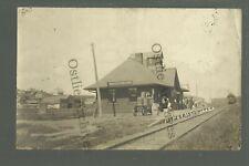 Moorhead IOWA RPPC c1910 DEPOT TRAIN STATION nr Dunlap Onawa Mapleton Woodbine