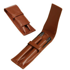 New Pen Case Soft PU Leather Pencil Fountain Pen Holder Double Two Pens Brown US