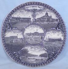 Asbury Park New Jersey Transferware Plate Blue Rowland & Marcellus Antique