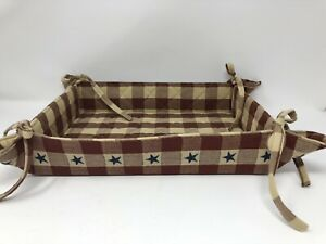 "Park Designs Fabric Corner Tie 10"" x 13""  Bread Basket Star Checked Quilt India"