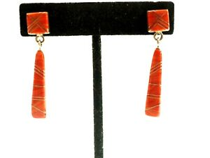 16 Stone Spiny Oyster Drop Dangle Earrings Sterling Silver