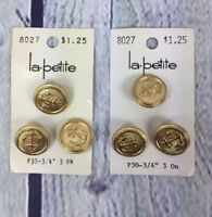 6 Gold Tone La Petite Embossed Anchor Design Metal Buttons NOS Nautical Vintage