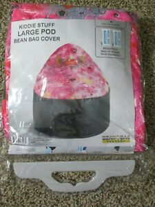 NEW BEAN BAG FACTORY LARGE POD BEAN BAG COVER PINK & BLACK HEARTS WINGS SEALED