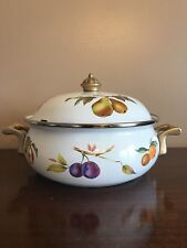 Vintage Enamel Ware Dutch Oven Casserole Dish with Lid Brass Hardware Vented Lid
