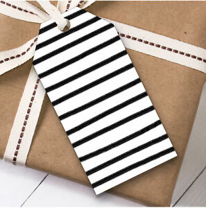 Black & White Stripes Christmas Gift Tags (Present Favor Labels)