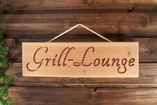 Grill Lounge - schönes Dekoschild, Holzschild, Wegweiser für Grillplatz & Garten