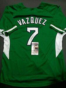 Christian Vazquez Boston Red Sox Autographed Custom Green Style Jersey coa JSA