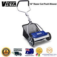 """VICTA™ 16"""" Razor Cut Hand Manual Push Lawn Mower Lawnmower + Catcher + 3yr Wty"""