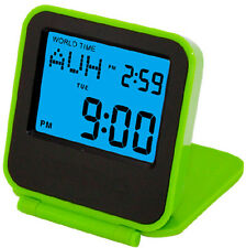 Dual Time Travel Alarm Clock 44 global cities display pocket size Green Color