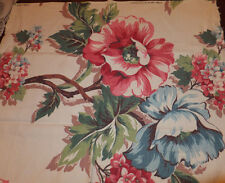 50's Barkcloth Nubby Florida bungelowl 22x24 pillow? shabby look large floral