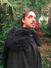 Viking Sorcerer Game of Thrones Cape Handmade Royal wolf fur Black Coat Jon Snow