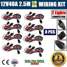 8x 12V40A WIRING LOOM HARNESS KIT HID LED DRIVING WORK LIGHT BAR AUTO FUSE RELAY