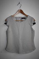 Dorothy Perkins Women's Designer Office Top White Geometric Open Cap Sleeve 10UK