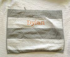 Pottery Barn Boys Kids QUILTED RUGBY STRIPE  gray Pillow SHAM monogram DYLAN
