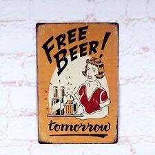 Antique Free Beer Metal Tin Signs Retro Bar Home Pub Wall Decoration