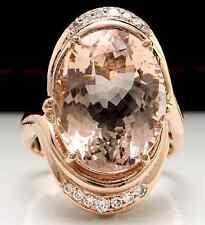 11.90 Carats Natural Morganite and Diamond 14K Solid Rose Gold Ring
