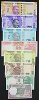 INDIA 8 PCS BANKNOTES SET (1+5+10+20+20+50+100+200 RUPEES), RANDOM YEAR, UNC