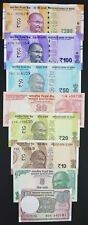 INDIA 8 PCS BANKNOTES SET (1+5+10+20+20+50+100+200 RUPEES), RANDOM YEAR, UNC